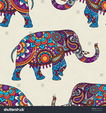 doodle indian doodle indian elephant seamless pattern vector stock vector