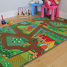 Animal Area Rugs Amazon Com Fun Kid U0027s Country Farm Life Mat Animal And Tractor