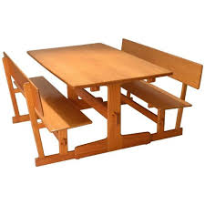 trestle dining table with bench gerald mccabe oak trestle dining table and benches for orange crate