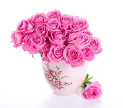 bouquets roses pink color flowers vase white background