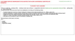 customer service representative instructor work experience certificate