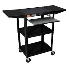 Overstock Home Office Desk by H Wilson Drop Leaf Adjustable Steel Utility Cart With Keyboard