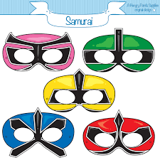this listing is for 5 printable samurai masks jpg files that are