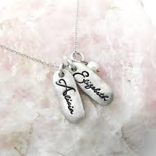 Baby Name Jewelry Personalized Name Oval Tag Necklace Custom Mom Jewelry