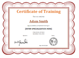 qualification certificate template training completion award