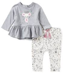 baby jessica simspon 2 piece grey embroidered top with brown