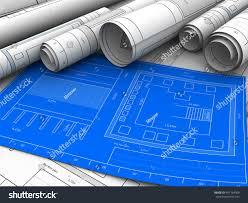 abstract 3d illustration blueprints building stock illustration