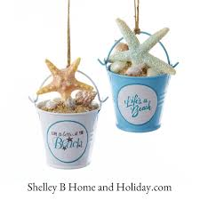 sand bucket u0026 starfish christmas ornaments set 2 sail boats
