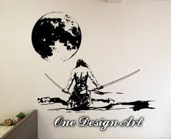 samurai warrior under full moon home decor wall mural arts