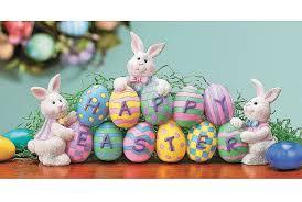 amazon com bunnies with easter eggs decorative centerpiece home