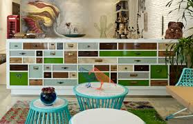 eclectic interior splashed in colorful furniture and art for fun