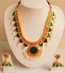 kerala style earrings buy gorgeous green unique design kerala style set online