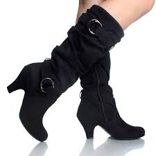 womens boots heels black suede buckle slouch knit chunky kitten heel fashion womens