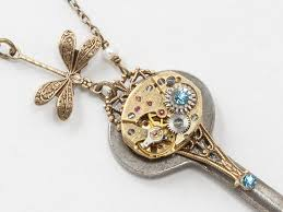 antique key necklace images Steampunk antique skeleton key necklace with gold watch aquamarine jpg