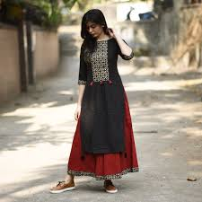 rustorange red u0026 black cotton solid straight kurti women u0027s kurti
