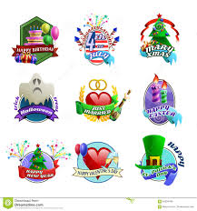 holidays celebrations emblems collection stock vector image