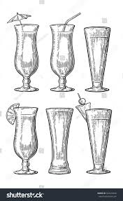 cocktail set alcohol cocktail set vintage engraving illustration stock