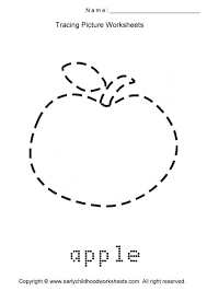 drawn apple kindergarten worksheet pencil and in color drawn