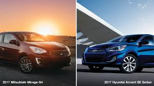 mirage mitsubishi 2017 mitsubishi mirage g4 vs 2017 hyundai accent se sedan