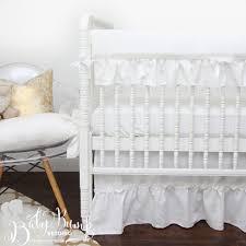 White Ruffle Crib Bedding Farmhouse Frilly White Ruffled Gender Neutral Baby Crib Bedd