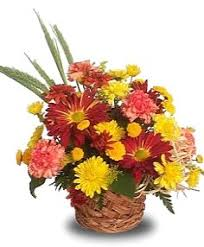 colorful harvest basket arrangement basket arrangements flower