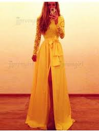 yellow dress buy high quality bateau sleeves split yellow prom dress