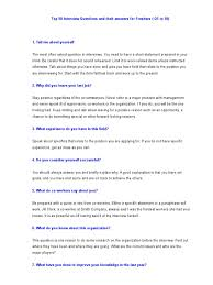 Best Resume Format For Bca Freshers by Top 50 Interview Questions And Their Answers For Freshers