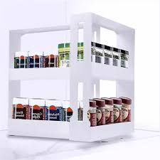 kitchen storage cabinet rack 2 layer multifunction rotating jars spice rack bottle storage cabinet kitchen storage rack holder organizer accessories shelf