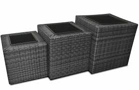 stunning luxury trio of grey rattan planters complete with
