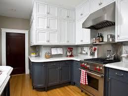 Two Tone Kitchen Island Traditional Dark Brown Cabinet Gray Kitchen Island Beige Tile