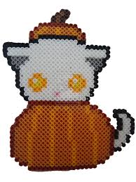 pumpkin kitty halloween perler beads by perlerhime on deviantart