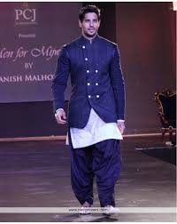 de modish navy blue and white party wear men salwar set with jacket