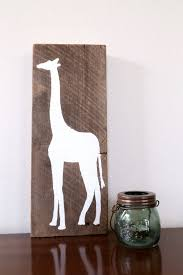 giraffe reclaimed wood artwork sign block free standing