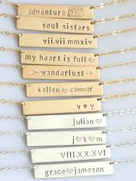 Name Bar Necklace Gold Personalized Bar Necklace Custom Name Plate Necklace Gold