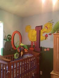 Elmo Bedding For Cribs Oscar And Big Bird Mural Sesame Nursery Theme Let Me