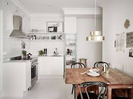 White Table L Interior Contemporary Scandinavian Kitchen Decor With Brown