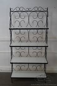 Bakers Rack Shelves Vintage Wrought Iron Bakers Rack W White Milk Glass Shelves