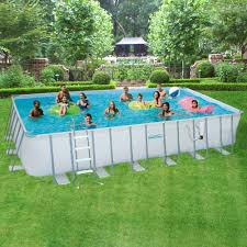 Intex Metal Frame Swimming Pools Summer Waves Elite 12 Ft X 24 Ft Rectangular 52 In Deep Metal