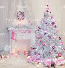pink christmas tree christmas tree interior fireplace pink white decorated indoor