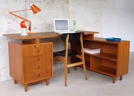Teak Computer Desk Vintage Retro 60s Teak Corner Desk Shelves Drawers