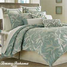 Comfortable Bed Sets Blue Tropical Bedding Sets With Leaves Pattern And White Bed On