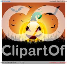 Halloween Flying Bats Clipart Of An Evil Halloween Jackolantern Pumpkin With Flying Bats