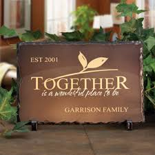 wedding plaques personalized personalized slate plaque with stand together
