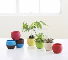 mini round plastic plant flower pot home office decor planter