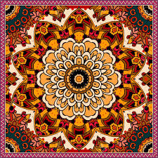 ethnic square rug with flower mandala in warm tones indian