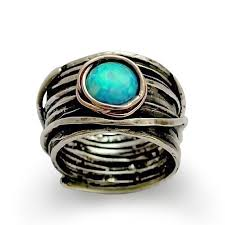 hippie wedding ring opal ring silver wedding ring silver engagement ring