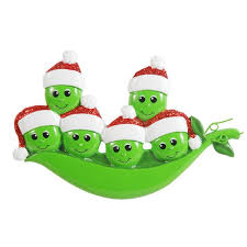 or1432 6 new peapod family of 6 personalized ornament