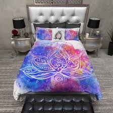 Duvet Bed Set Boho Watercolor Lotus Flower Bedding Watercolor Lotus Duvet