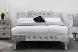 Double King Size Bed Knightsbridge Silver Crushed Velvet Fabric Bed Frame Double King