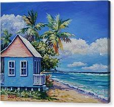 Cottage By The Beach by John Clark Canvas Prints Fine Art America